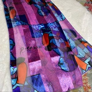 ⭐️ Vintage Piscasso Abstract Silk Feel Scarf
